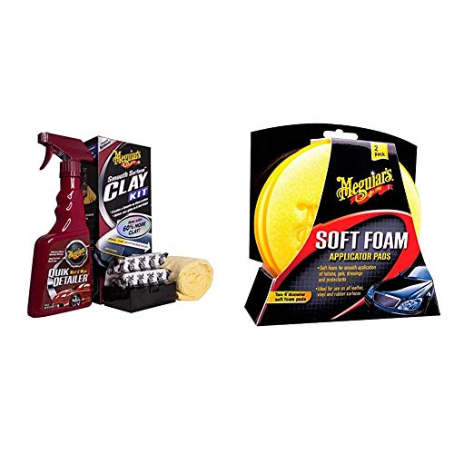 Meguiar's G1016EU Smooth Surface Clay Kit Lackreinigungsset, 473 ml+2 * 80 g & X3070 Soft Foam Applicator Pads Auftragsschwamm, 2-er Pack