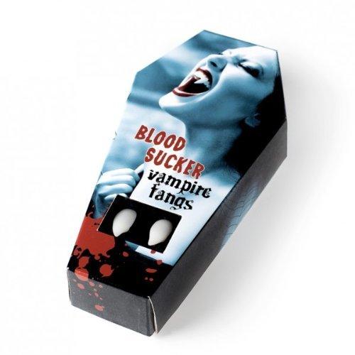 Dientes de vampiro FXSTUFF + cápsula de sangre falsa + masilla termoplástica (reutilizable) - moldeable según las necesidades permitiendo una perfecta adhesión