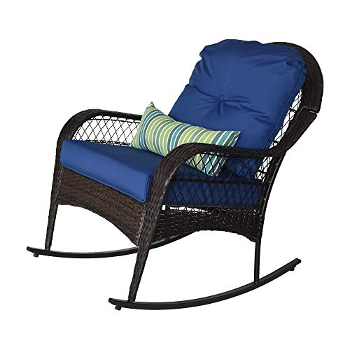 Sundale Outdoor Wicker Rocking Chair Rattan Outdoor Patio Yard Furniture All- Weather with Cushions & Lumbar Pillow (Navy)