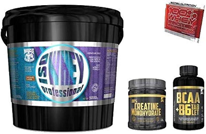 5kg proteine isolate senza glutine + bcaa 100cpr e creatina 100g gold`s nutrition e omaggio scitec B07FHK49NC