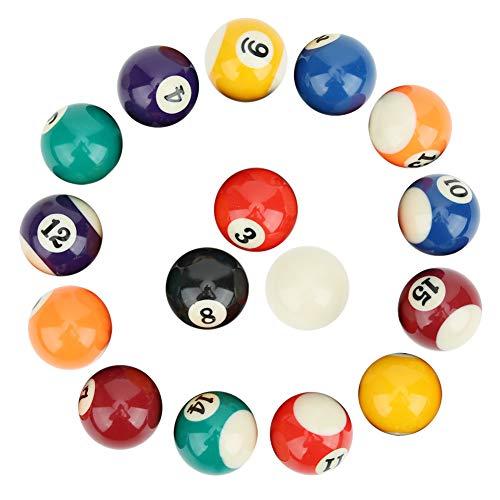 Keenso Bolas de Billar, 16 Piezas Mesa de Billar para niños Mini Bolas de Billar de Resina Accesorios de Billar Americano de 38 mm