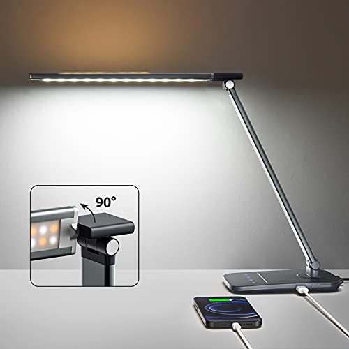 Anti-Blue Metal LED Desk Lamp with USB Charging Port, SNOILITE Eye-Caring Desk Light for Home Office, 50 Light Modes, 600 Lumens, Night Light, Touch Control, Working, Reading, College(Gunmetal Grey)