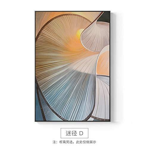 XUML Muurfoto's voor Woonkamer Slaapkamer en Aisle Kunstmatige Geometrische Figuur Schilderen met Goud Doek en Drukkunst 60x40cm(No frame) Ventilator D