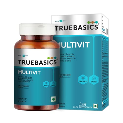 TrueBasics Multivit Daily, Multivitamin For Men and Women , Multivitamins with Zinc , Multiminerals, Immunity and Antioxidant Blend, Clinically Researched Ingredients (60 Multivitamin Capsules )
