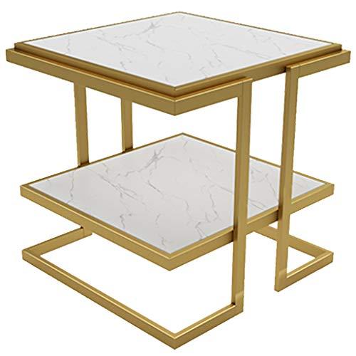 KST hoektafel met twee etages van roestvrij staal, bijzettafel vierkant van gehard glas, kan als nachtkastje, kleine salontafel, bijzettafel, hoektafel, 53 x 55 cm
