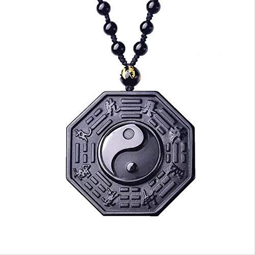 NC163 Collar Bagua de obsidiana Negra, Colgante Yin Yang, Colgante de Jade Negro, joyería de Jade con Collar de Perlas