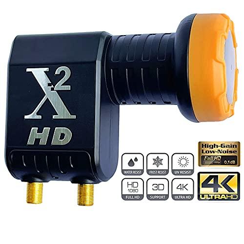 Goaycer Twin LNB 2Fach, mit LTE-Filter,Vergoldete Kontake für 2 teilnehmer,Digital mit Wetterschutz, Full HD, 4K,3D