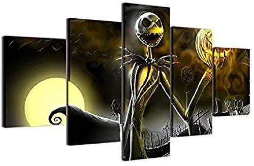 Impresiones en lienzo Cuadros de arte de pared 5 piezas Halloween moon pumpkin horror puppet + Halloween moon pumpkin horror puppet + Hallowmas Jack Skellington Pintura Pesadilla antes de Navidad