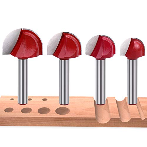 SUSOTA 1/4 Inch Shank Cove Box Router Bit Set - 5/8' 3/4' 7/8' 1' Cutting Diameter Solid Carbide Double Flute Woodworking Tool 4 Pcs