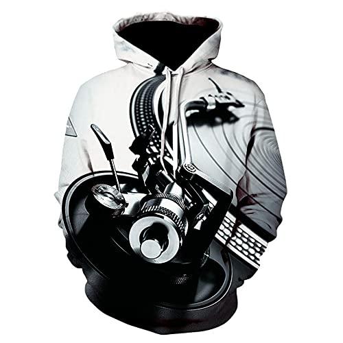 LGLZKA Suéter 3D Impresión Digital Música Radio Sudadera con Capucha Suéter De Los Hombres Sudadera De Uniforme De Béisbol Personalizada,5XL