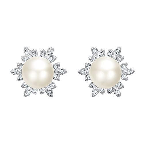 Clearine Mujer 925 de Plata Pendientes Perla Natural Forma Copo de Nieve Plateado Tono Marfil Novia Boda