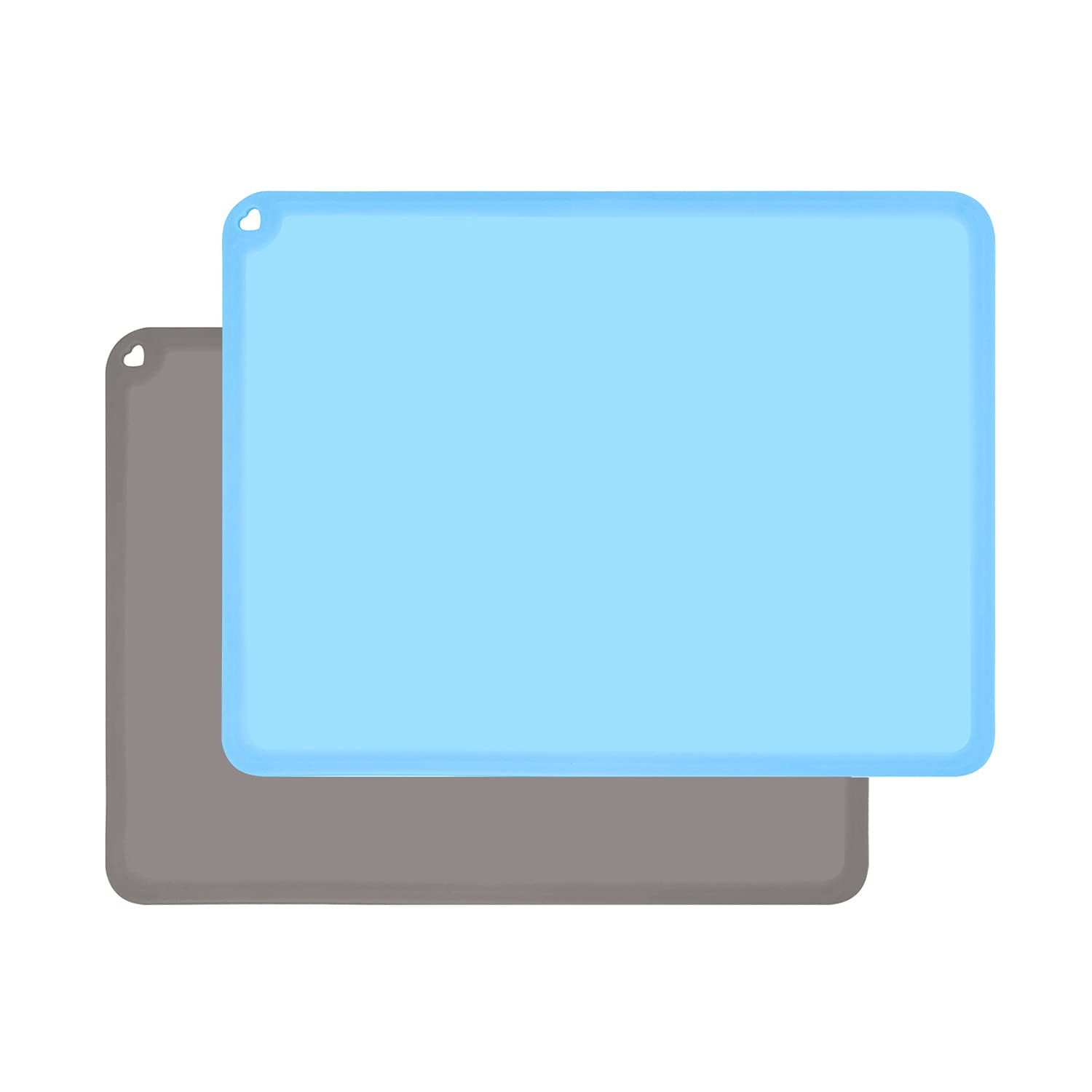 Silicone Kids Placemats, Non-Slip Portable Placemats for Kids Baby Toddlers Table Mats, Reusable Children's Dining Food Mat, 2Pack, Baby Blue/Gray