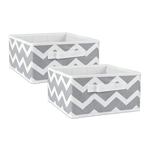 """DII Fabric Storage Bins for Nursery, Offices, & Home Organization, Containers Are Made To Fit Standard Cube Organizers (11x11x5.5"""") Chevron Gray - Set of 2"""