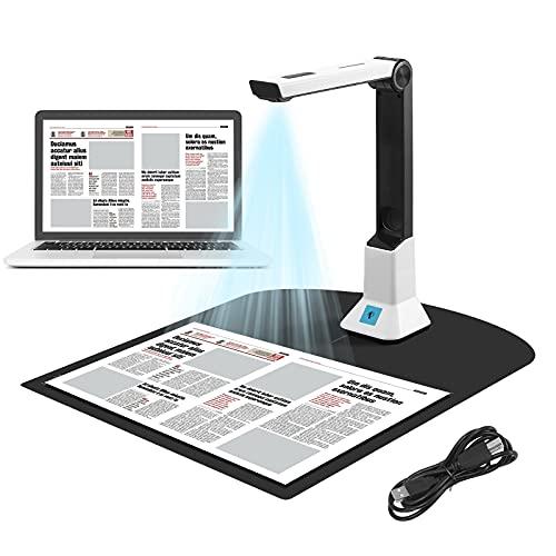 TTLIFE Cámara de Documentos,Escáner Portátil de Alta Definición,Escáner de Cámara de Documentos de Imagen,con Función de Grabación de Video de Proyección en Tiempo Real,Tamaño de Captura A4