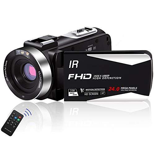 Videokamera Camcorder Full HD 1080P 30FPS 24,0 MP Camcorder HD IR Nachtsicht 3,0 Zoll IPS-Bildschirm 16X Zoom Videokamera HD mit Fernbedienung