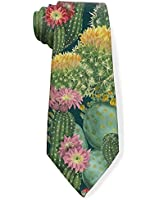 Men's Slim Skinny Tie Cactus Floral Bloom Flower Summer Tropical Watercolor Soft Print Novelty Necktie Fashion Neck Ties For Man Boy Adults Business Office Party