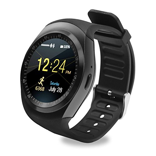 Y1 Ronde Bluetooth Smart Watch, Touch Screen Telefoon Horloge met SIM TF Card Slot SmartWatch Stappenteller Slaapmonitor Afstandsbediening voor Android