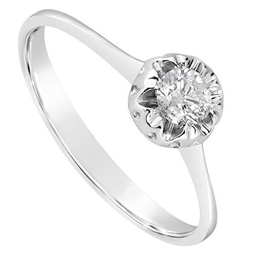MILLE AMORI ∞ Anello Solitario Donna Fidanzamento Oro e Diamanti ∞ Oro Bianco 9 Carati 375 Diamante 0,18 Carati ∞ Collezione Diadema + Luce + Volume