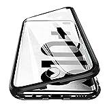 Woskko Galaxy S10 Plus Magnet Case, Ultra Slim Shockproof Magnet Flip 360° Full Body Tempered Glass Magnetic Cover (Black)