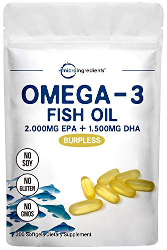 Triple Strength Omega-3 Fish Oil Supplement (Fish Oil Burpless), 3750mg Per Serving, 300 Softgels, EPA 2000mg & DHA 1500mg, Non-GMO