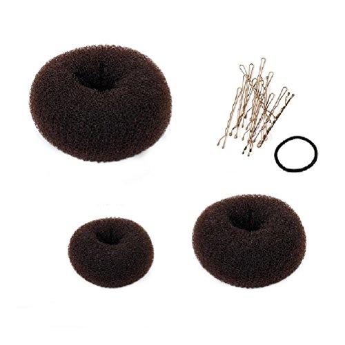 Frcolor 3pcs Bundle Chignon capelli ciambelle anello stile Bun Maker grande medio piccolo marrone