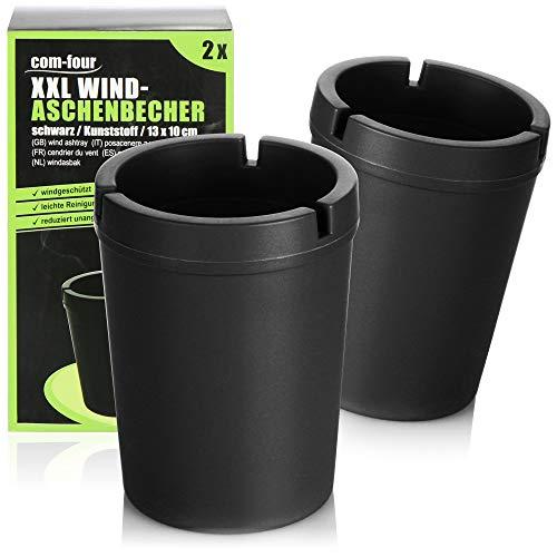 com-four® 2X XXL Aschenbecher für draußen - Windaschenbecher - Sturmaschenbecher mit Deckel - Autoaschenbecher, Ø 10 cm (schwarz)