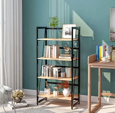 4-stufiges Hölzernes Bücherregal rustikales industrielles Regal Bücherregal aus Holz und Metall,...