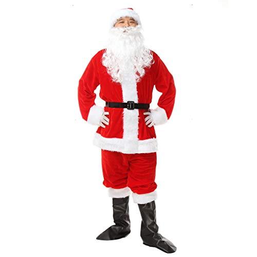EOZY-Costume da Babbo Natale Uomo Rosso Uomo Sette Pezzi per Feste Tema Carnevali X-Large Busto 96cm