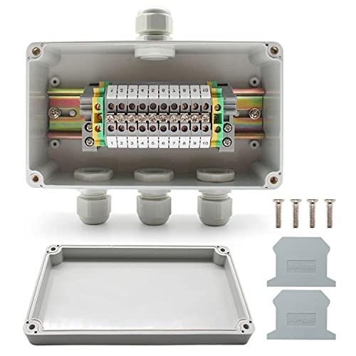 SRJQXH IP66 Caja de Conexiones Impermeable 1 de Cada 3 de Salid, Banda Bloque de Terminales de Carril DIN, Kit de Bloque de Terminales Universal, Adecuado Para Proyectos de Automatización