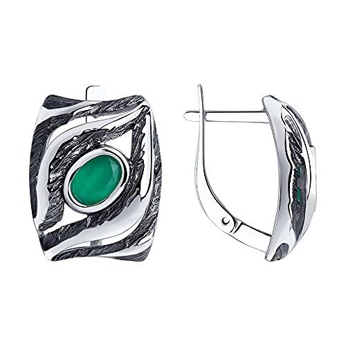 Mirkada - Pendientes de plata con ágata, color verde