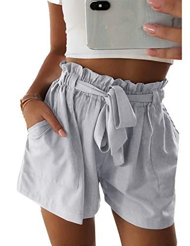 Naliha Femmes D'été Taille Haute Shorts Occasionnels Noués Plage Chaude Pantalon Court Gris L