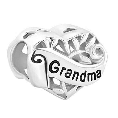 LovelyJewelry Sister Wife Grandma Heart Sterling Silver I Love You Filigree Tree of Life Charms for Bracelet (Grandma)