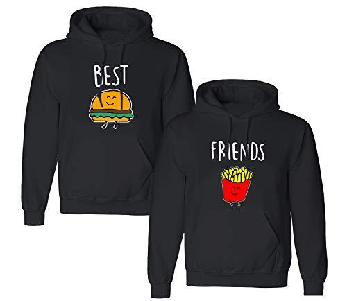 Best Friends Pullover für Zwei Mädchen Sister Beste Freunde Hoodie Set für 2 Damen Kapuzenpullover Sweatshirt Pulli Freundin BFF Geschenke Schwarz Grau (Schwarz1-Hoodie, M + M)