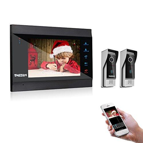 TMEZON Wifi Sistema Videocitofonico Con Citofono,7 Pollici Monitor Con 2 * 1200TVL Telecamera Esterna Cablata, Registrazione e Istantanea