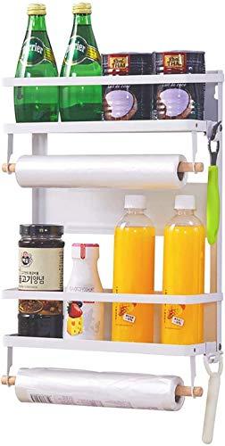 Estante magnético para especias para refrigerador, estante de nevera con soporte de toalla de papel, tarro de condimento, lata, organizador de botellas (blanco grande)