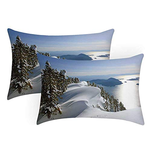 Winter Comfortable Pillow Covers,Pacific Ocean Meets The Mountains Vancouver British Columbia Canada Wilderness Scenery Decorative for Bedroom Living Room,Queen(30' L x 20' W)