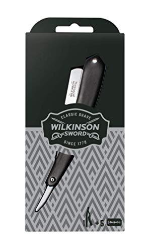 Wilkinson Sword Classic Vintage - Navaja Clásica de Afeitar de Barbero - Accesorio Profesional de Afeitado y Cuidado de Contorno de Barba + 5 Recambios Doble Hoja