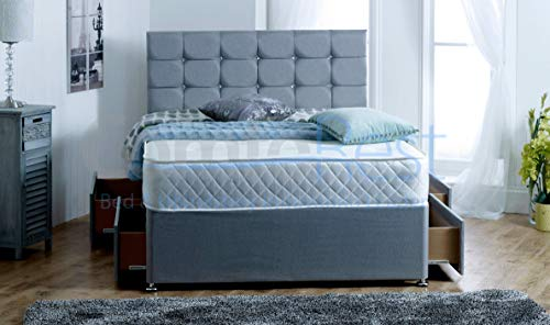 5FT KING 4 Drawers Paris Grey Fabric Divan Bed Set with Memory Mattress and headboard – UK