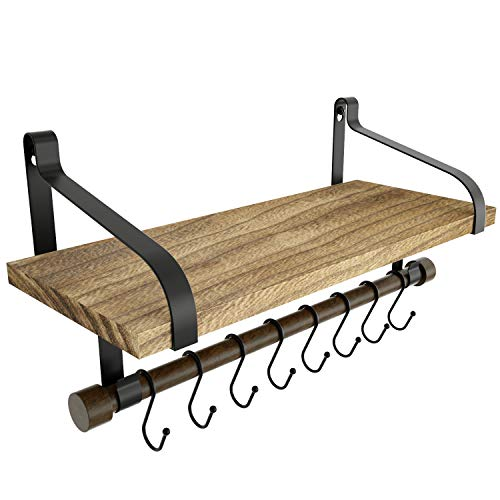 Love-KANKEI Floating Shelf Wall Shelf for Storage Rustic Wood Kitchen Spice Rack with Towel Bar and 8 Removable Hooks for Organize Cooking Utensils or Mugs Carbonized Black
