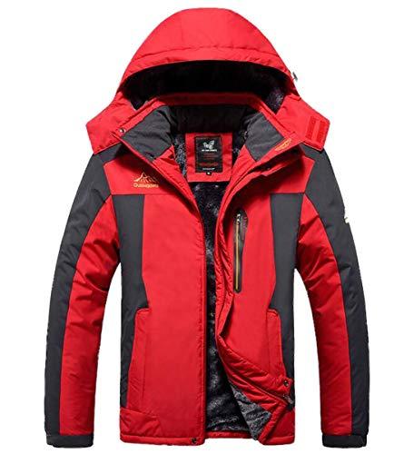 NANXCYR Mannen Waterdichte Mountain Jacket Outdoor Multi-Pockets Hooded Windbreaker Katoenen Jassen Warm Regenjas Verdikking Parka Wandelen Mountaineer Reizen Winter