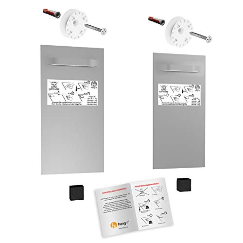 hang-it Premium Spiegel Aufhänger Set L - inkl. 2X 200x100 mm Spiegelaufhänger - Spiegelhalter und Exzenterscheiben
