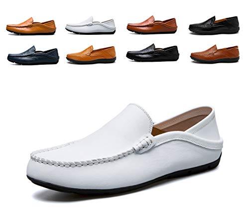 AARDIMI  Herren Mokkasins Slip on Casual Männer Loafers Frühling und Herbst Herren Mokassins Schuhe aus echtem Leder Herren Wohnungen Schuhe, 43 EU, Weiß