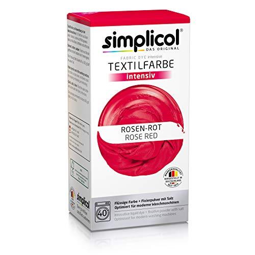 Simplicol Kit de Tinte Textile Dye Intensive Rojo: Colorante para Teñir Ropa, Tejidos y Telas Lavadora, Contiene Fijador para Colorante Líquido, Anti Alérgeno, No Destiñe, Seguro para su Lavadora
