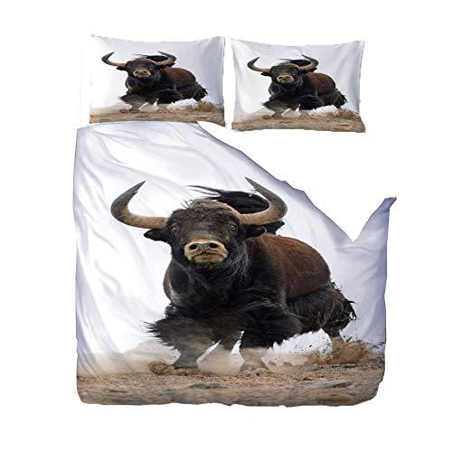 Duvet Cover Set 3D Print Bedding Set Running Animal Cow With Zipper Closure For Bedding Decro, Ultra Soft Microfiber,Double,(1 Duvet Cover + 2 Pillowcases)