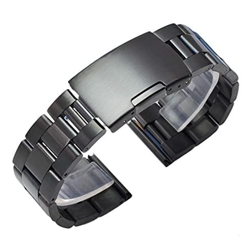 RVTYR Reloj Correa, Pulsera de la Banda de Reloj de Metal Negro de Plata de 18 mm 20 mm 22 mm 24 mm Strap de Hombres 316L Sólido Acero Inoxidable Reloj de Extremo Recto Brazaletes Correas de Repuesto