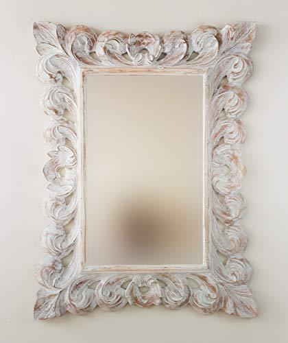 Espejo Decorativo de Madera Bolong Kadek de 60x80cm en Blanco decapado