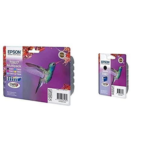 Epson Multipack T0807 6 Colores Cartucho de Tinta para impresoras Si + T0801 Cartucho de Tinta, 330 páginas/7.4 ml, Negro, Ya Disponible en Amazon Dash Replenishment