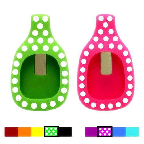Dunfire Colorful Replacement Clip Holder for Fitbit Zip Wireless Activity Tracker (2PCS - Green&Pink with White DOTS)
