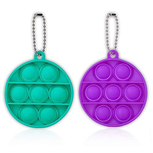 ZNNCO Push Pop Bubble Fidget Sensory Toys,Mini Fidget Poppers Keychain Toy,Autism Special Needs Stress Reliever for Kids Adults(Purple+Green Round)