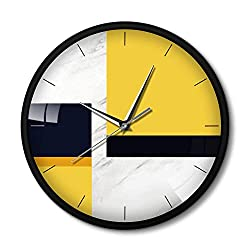 N /A Wall Clock Nordic Style Round Wall Clock Modern Design Metal Frame Living Room Clock Marble Texture Silent Movement Wall Watches Home Decor